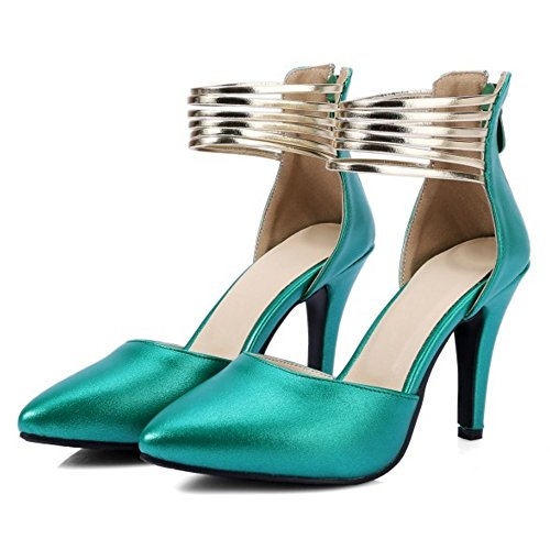 COOLCEPT Mujer Moda Correa de Tobillo Sandalias Tacon de Aguja Cerrado Zapatos Cremalleraper Tamano Verde