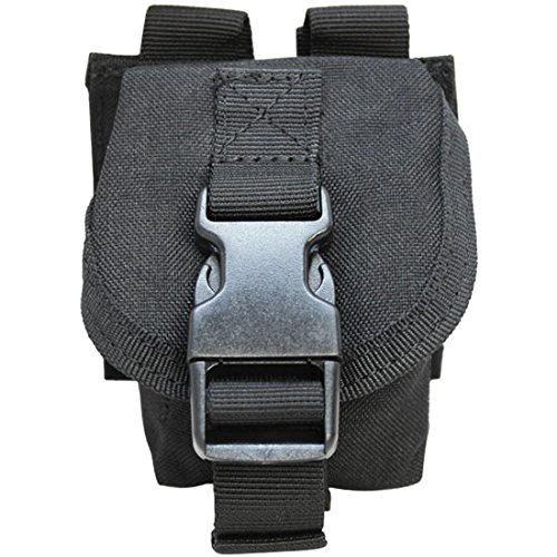 (BLACK Tactical M67 One Single Frag Hand Grenade Pouch Molle Pals Bag Holds 1)