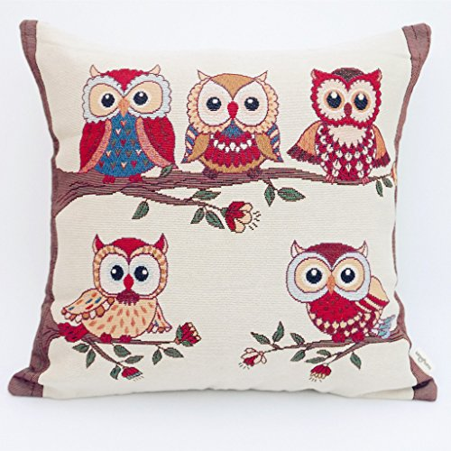 Uniifurn Owl Family Decorative Square Throw Pillow Cover Pillowcase Cushion Cover 20x20 Inches, Double-sided