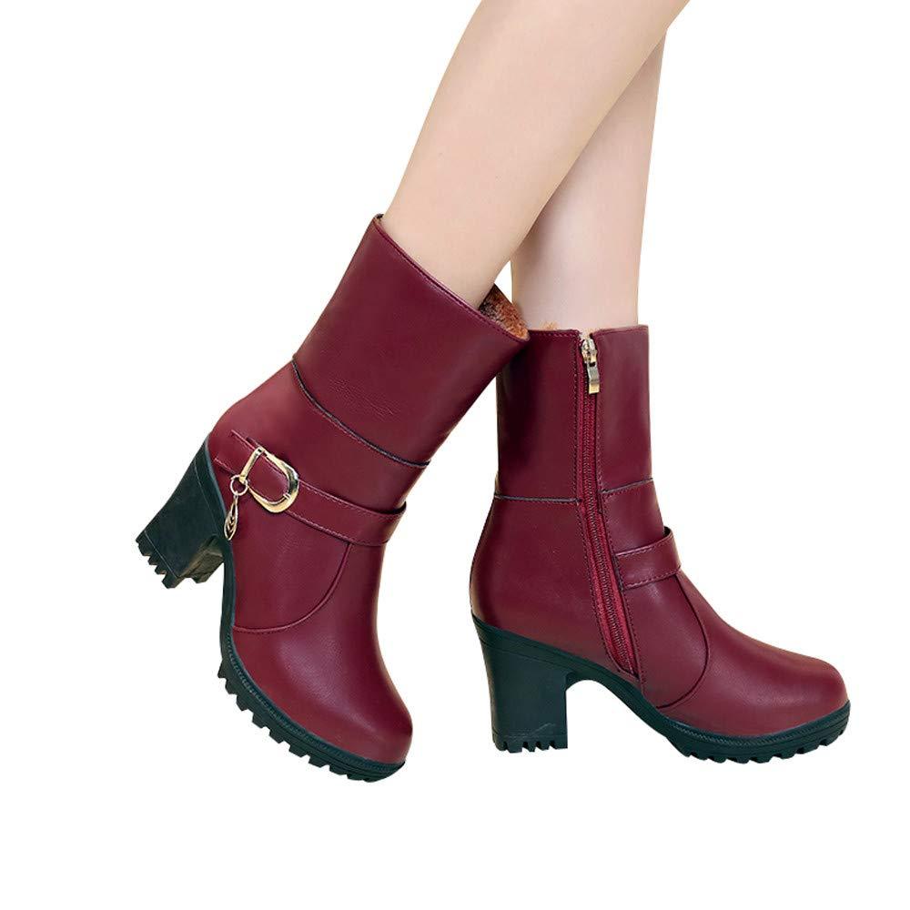 efb95e0c37db Damen Stiefel, Frauen PU-Leder Round Toe High Heel Schuhe Falten Booties  Warm Cotton Boots halten Stiefelette 35-40 LANSKIRT