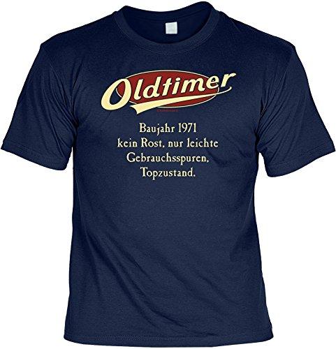 Modisches Herren Fun-T-Shirt als ideale Geschenkeidee im Set zum 45. Geburtstag + Mini Tshirt Jahrgang 1972 Farbe: navy-blau