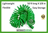 Coiled Garden Hose,5 Pattern Water Nozzle & Tap Adapter BONUS - Flexible,Retractable,Kink Free - Expandable,Drinking Water Safe - Fast Connect,The Best For Gardening,Yard & RV Gifts - 50 ft Hose Kit