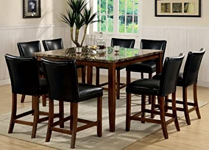Superbe 9pc Counter Height Dining Table U0026 Stools Set Cherry Finish