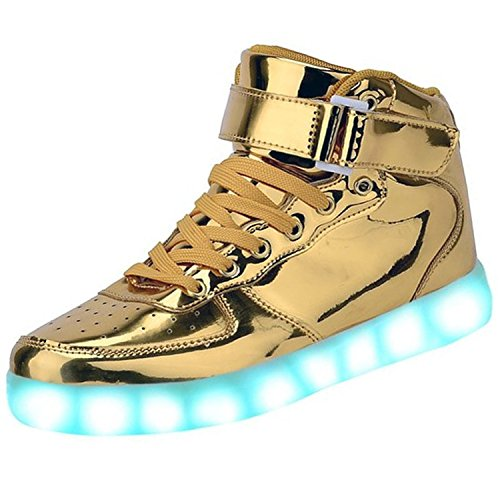 Pilusooou Cool High Top LED Shoes LED Light Up Sneaker & 7 Color Light & USB Charger Gold6 B(M) US Women / 4.5 D(M) US Men