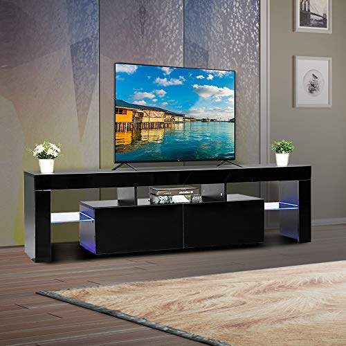 Bonnlo Modern TV Stand with LED Light 63 Inch TV Stand TV Cabinet Media Storage Console Table with Drawer and Shelves for Living Room Bedroom Furniture, Black