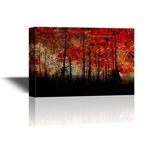 Abstract Landscape with Black Trees under Red Sky Gallery