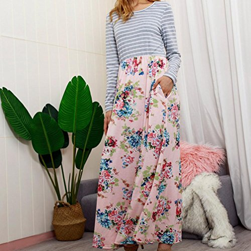 Rambling Women's Casual Striped Long Sleeve Floral Print Bohemian Tank Dresses Party Evening Long Maxi Dresses with Pockets by Rambling (Image #2)