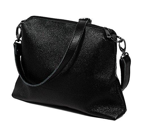 Bolsos de señora Xinmaoyuan ganado Litchi patrón Bolso de Hombro Casual Señoras Dumplings Big Bag,negro Negro