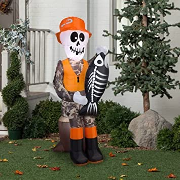 gemmy airblown inflatable 55 x 2 fishing skeleton halloween decoration