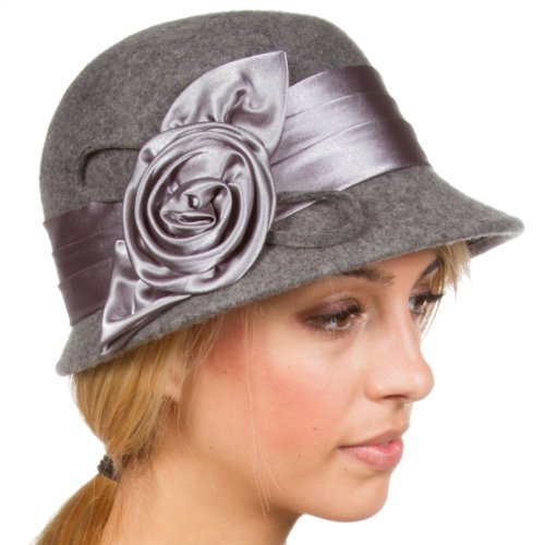 Sakkas CL1489 Vintage Style 100% Wool Cloche Bucket Winter Hat - Heather Grey/One Size (Pin Style Hat)