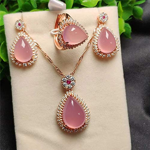 (LTH12 Jewelry Sets - 3pcs 925 Sterling Silver Rose Gold Natural Pink Jade Gemstone Drip Pendant Necklace Bracelet Earrings Women Jewelry Set 1 PCs)