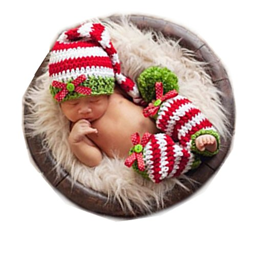 Christmas Picture Outfits (Newborn Baby Photo Props Outfits Crochet Christmas Hat Socks for Boy Girls Photography Shoot)