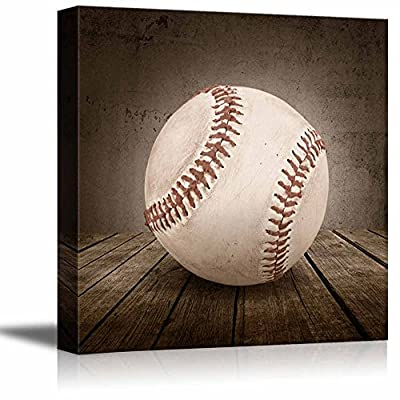 Home Run! Baseball Rustic Square Sport Panel - Celebrating American Sports Traditions - Canvas Art Home Art - 12x12 inches