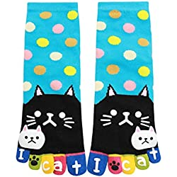 uxcell Women Dots Letter Cat Prints Stretchy Ankle Length Toe Socks Blue