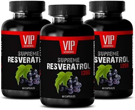 Immune Pills - Supreme RESVERATROL Complex 1200 MG - Premium ANTIOXIDANTS - Natural Formula - resveratrol 1000mg - 3 Bottles (180 Capsules)