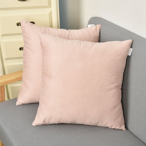 2 Pcs Velvet Deluxe Square Decorative Throw Pillow Covers for Teen Girl's Room by Natus Weaver , 18x18 , Baby Pink