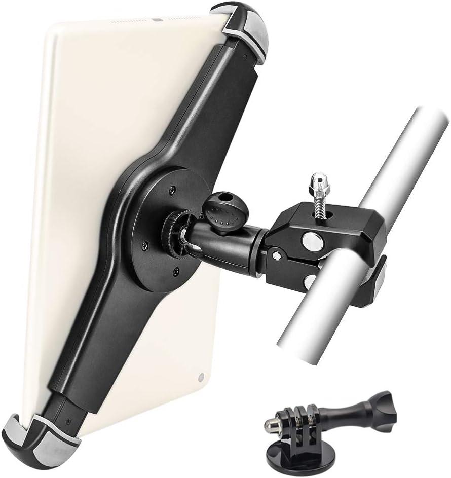 حامل تابلت EXSHOW للدراجات النارية ، حامل حامل حامل ثلاثي للتابلت والكاميرا ، مقبض معدني شديد التحمل للتثبيت مع دوران كامل لـ iPad Pro 12. 9 11 10. 5 9. 7 Air، GoPro Hero 9 8 7 6 5 4 3+ 3 2 1 إلخ