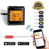 Digital Meat Thermometer with 6 Probes Bluetooth Wireless Remote Controll Grill BBQ Instant Read Candy Cooking Electronic Thermometer for Kitchen Food Milk Tea