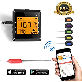 Digital Meat thermometer for Grilling , ICOCO Best Instant Read Oven Meat Thermometer with 6 Probes Ultra Fast Easy Electronic BBQ and Kitchen Food ...