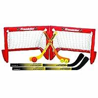 Franklin Sports Kids - Juego de dos goles de hockey plegable - NHL - Hockey callejero y rodilla - Incluye 2 palos de hockey ajustables, 2 palos de hockey de rodilla, 2 pelotas de hockey - 24 x 19 x 19 pulgadas