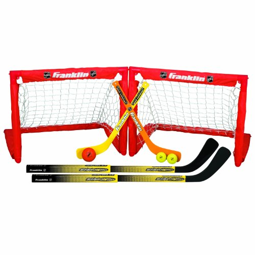 - Franklin Sports Kids Folding Hockey 2 Goal Set - NHL - Street Hockey & Knee Hockey - Includes 2 Adjustable Hockey Sticks, 2 Knee Hockey Sticks, 2 Hockey Balls - 24 x 19 x 19 Inch Goal