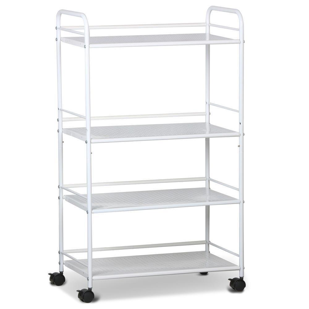 Popamazing 4 Shelf Spa Storage Dentist Wax Treatments Large Salon Beauty Trolley Cart,White