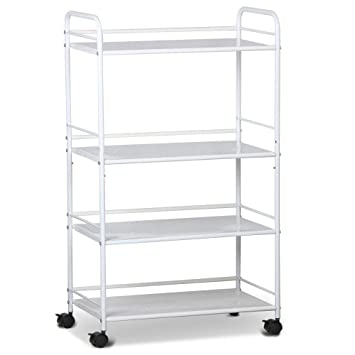 amazon com topeakmart rolling trolley cart kitchen storage cart 4