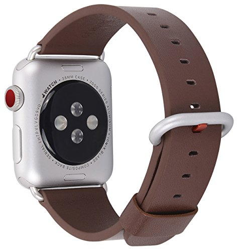 JSGJMY Apple Watch Band 38mm Women Dark Brown Genuine Leather Loop Replacement Iwatch Wrist Strap with Silver Metal Clasp for Apple watch Series 3 2 1 Sport Edition (Dark Brown Leather Band)