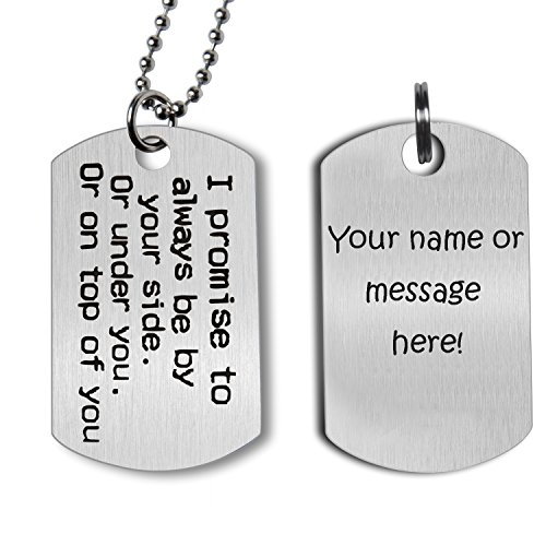 Valentine's Day Gift for Girlfriend Boyfriend Wife Husband Naughty Words Dog Tag Necklace Personalized Keychain Couples Jewelry Gift for Wedding Anniversary Birthday (Engraving)