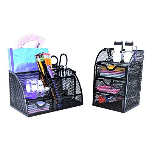 OfficeEmpire 6 Compartment + Drawer Desk Organizer with 3 Drawer Mini Hutch Storage Combo