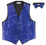 Vesuvio Napoli Men's SEQUIN Design Dress Vest & Bow Tie ROYAL BLUE Color BOWTie Set size Medium