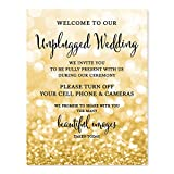 Andaz Press Wedding Party Signs, Glitzy Gold Glitter, 8.5x11-inch, Welcome to Our Unplugged Ceremony Turn Off Phones No Devices Sign, 1-Pack, Bokeh Colored Party Supplies