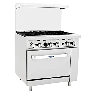 "CookRite ATO-6B Commercial Manual Liquid Propane Range 6 Burner Hot Plate With Standard Oven 36"" - 165000 BTU"