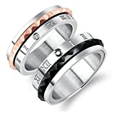 Aooaz Stainless Steel 1 Pair Rings Engagement Rings Wedding Band Black Rose Gold Roman Numerals Cubic Zirconia Rings With Free Engraving Womens 7 & Men 7 Novelty Jewelry Gift