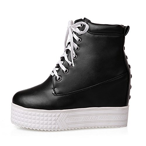 BalaMasa Muffin Bandage Girls Imitated Buttom Black Boots Leather American Platform aagwv