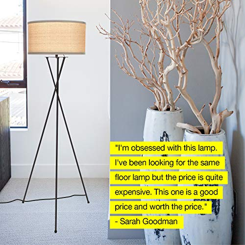 Brightech Jaxon Tripod LED Floor Lamp – Mid Century Modern, Living Room Standing Light – Tall, Contemporary Drum Shade Lamp for Bedroom or Office – Black by Brightech (Image #3)