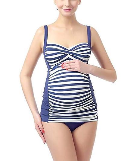 779e41530fc64 Amazon.com: HDLTE Striped Maternity Swinsuit for Women Two Piece Tankini  Swimsuit Bikini Set Bathing Suit: Clothing