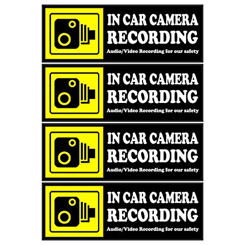 Camera Audio Video Recording Window Cars Stickers - 4 Signs Removable Reusable Indoor Dashcam in Use Vehicles Warning Decals Labels Bumpers Static Cling Accessories for Rideshare Taxi Drivers (Yellow)