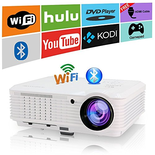 Android Projector WiFi Bluetooth Support Full HD 1080P, 3600 Lumen Home Theater Projector HDMI TV AV USB Audio Port for iPhone Smartphone, Video Projector 1080p for Indoor Outdoor Basement Backyard by CAIWEI