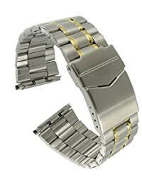 Hadley Roma MB9217T 20-26mm Two Tone Stainless Mens Metal Watch Band