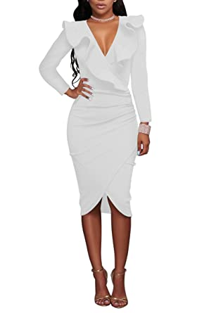 YMING Vestito Sexy dal Vestito da Partito del Vestito da Partito del Collo  del Collo del Vestito dal Bodycon del Vestito Sexy dalle Donne  Amazon.it   ... fffe8489c15
