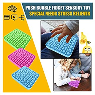 Push Pop Bubble Sensory Fidget Toy, Silicone Stress Reliever Toys for Autism Special Needs Stress Reliever, Squeeze Sensory Toy
