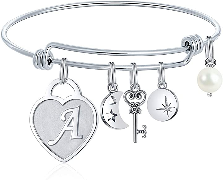 39270c72c48a8 Initial Charm Bracelets for Women Gifts - Engraved 26 Letters Initial  Charms Bracelet Stainless Steel Bangle Bracelet Birthday Christmas Jewelry  Gift ...