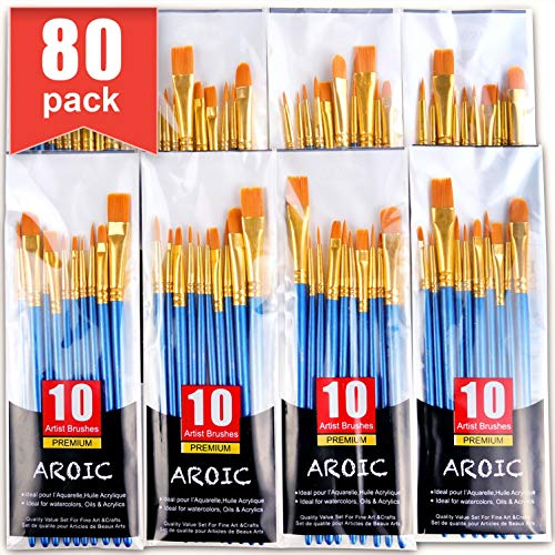 Paint Brush Set, Nylon Hair Brushes for Acrylic Oil Watercolor Painting Artist Professional Painting Kits (80 Pack) in USA