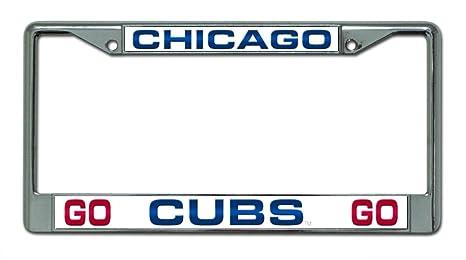 Amazon.com : MLB Chicago Cubs Go Cubs Go Design Laser-Cut Chrome ...