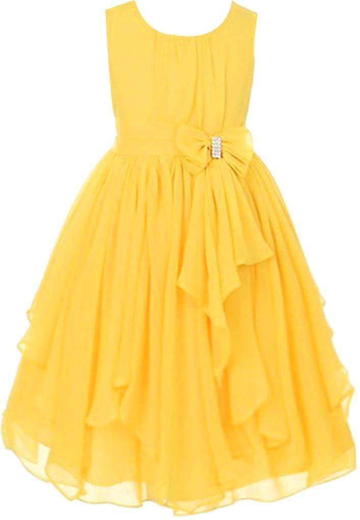 AmyStylish Little Girl Summer Chiffon Wedding Flower Birthday Party Dress Yellow 4-5