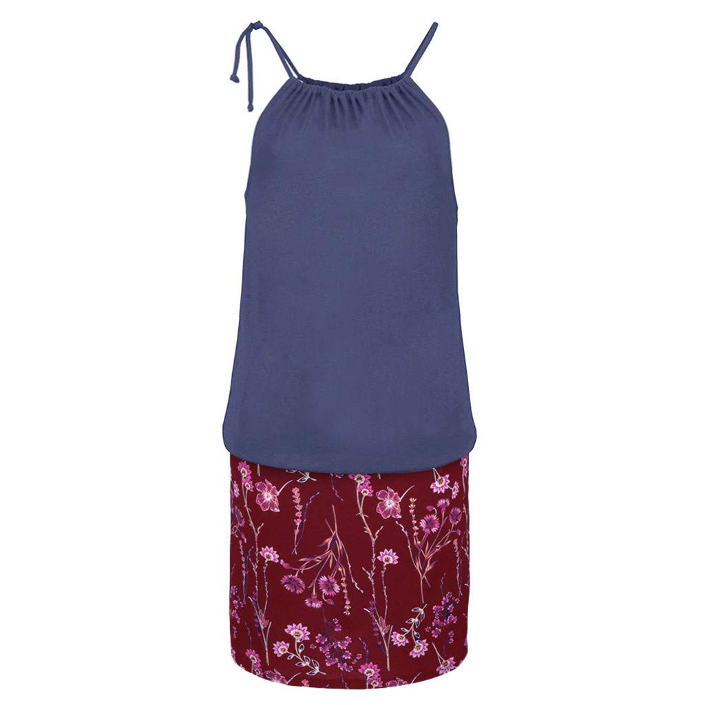 Gibobby Women's Casual Sleeveless Halter Neck Boho Print Short Dress Sundress by Gibobby_Dress (Image #4)