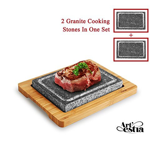Artestia Double Cooking Stones in One Sizzling Hot Stone Set, Deluxe Tabletop Barbecue/BBQ/Hibachi/Steak Grill (One Deluxe Set with Two Stones) (Granite Restaurant Table Tops)