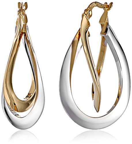 14k Gold Two-Tone Double Crossover Hoop Earrings (1.4