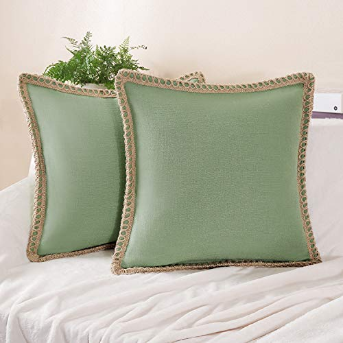 Phantoscope Pack of 2 Farmhouse Burlap Linen Trimmed Tailored Edges Throw Pillow Case Cushion Covers Green 18